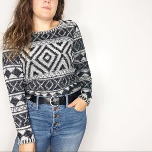 LUCKY BRAND | Tribal Southwestern Cropped Sweater